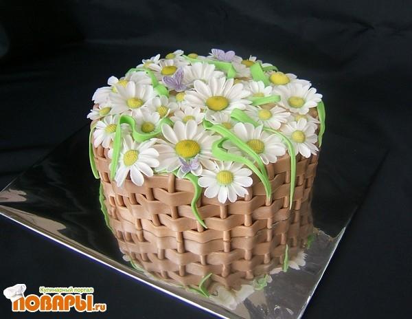 Как сделать торт из мастики корзина с цветами из