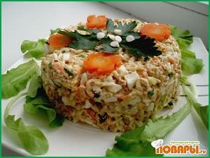 салат из вермишели и печени трески