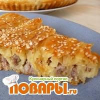 Спиральный мясной пирог