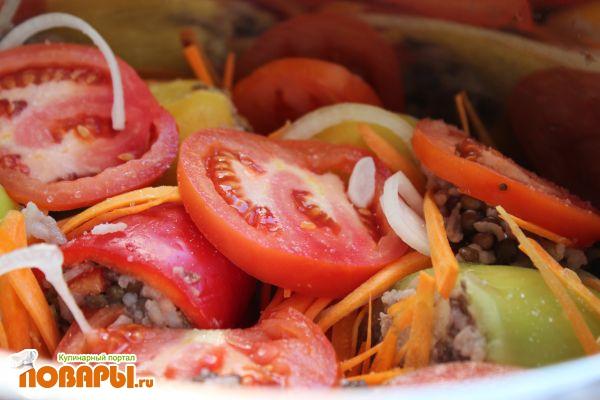 Вегетарианский фаршированный перец (постный) с чечевицей