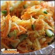 Салат из маринованной редьки, моркови и свежих огурцов