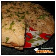 Блинный пирог с курицей, грибами и сыром  Блинный пирог с курицей, грибами и сыром