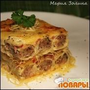 Каннелони с курицей, грибами, ветчиной, запеченные в сливочном соусе с моцареллой!