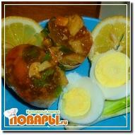 Грибное заливное в яйцах