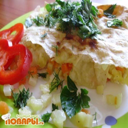 готовый лаваш с картофельной начинкой
