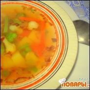 Суп на курином бульоне с замороженными овощами