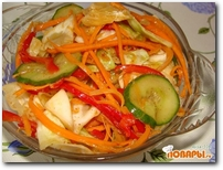 Салат с капустой и огурцами по корейски