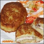 Котлеты картофельные, фаршированные свининой