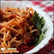 Спагетти с баклажанами и томатным соусом
