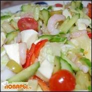 Салат с креветками, моцареллой и ананасами