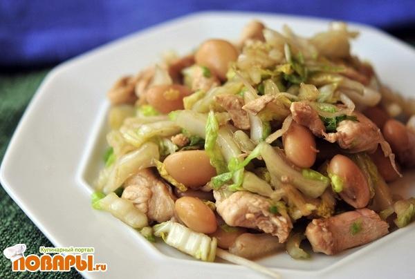 Салат с белой фасолью, восточный