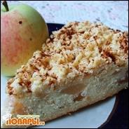 Творожный пирог с яблоками и грушами