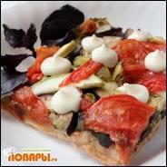Веганская пицца с баклажанами и кабачками на бездрожжевом тесте