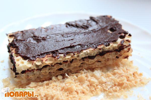 Вафли постные (из готовых вафельных листов с постным шоколадной шоколадной пастой)