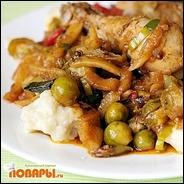 Куриные окорочка в томате с ёжиками