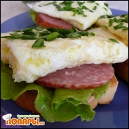 Бутерброды с салями и омлетом