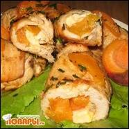 Куриные рулетики с абрикосами