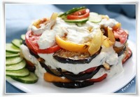 Закусочный торт из кабачков и баклажанов