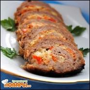 Мясной рулет с овощным омлетом